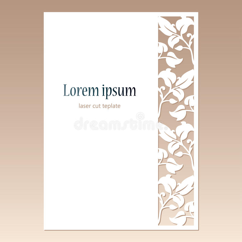 Карточка с openwork границей с листьями и космос для текста Шаблон вырезывания лазера иллюстрация штока
