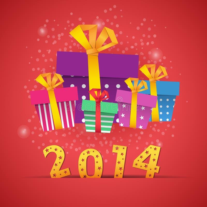 Карточка 2014 торжества подарочных коробок Нового Года иллюстрация штока