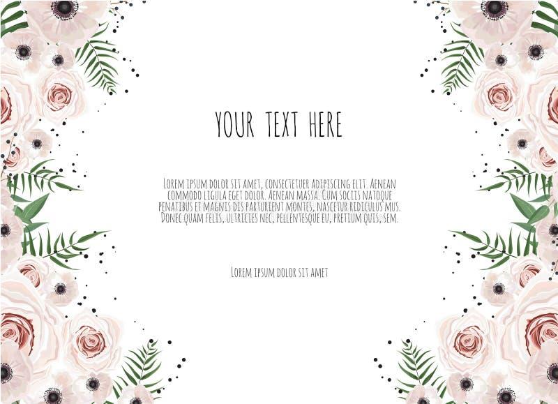 Карточка флористического дизайна вектора Приветствие, свадьба открытки приглашает шаблон Элегантная рамка с розовой и ветреницей иллюстрация штока