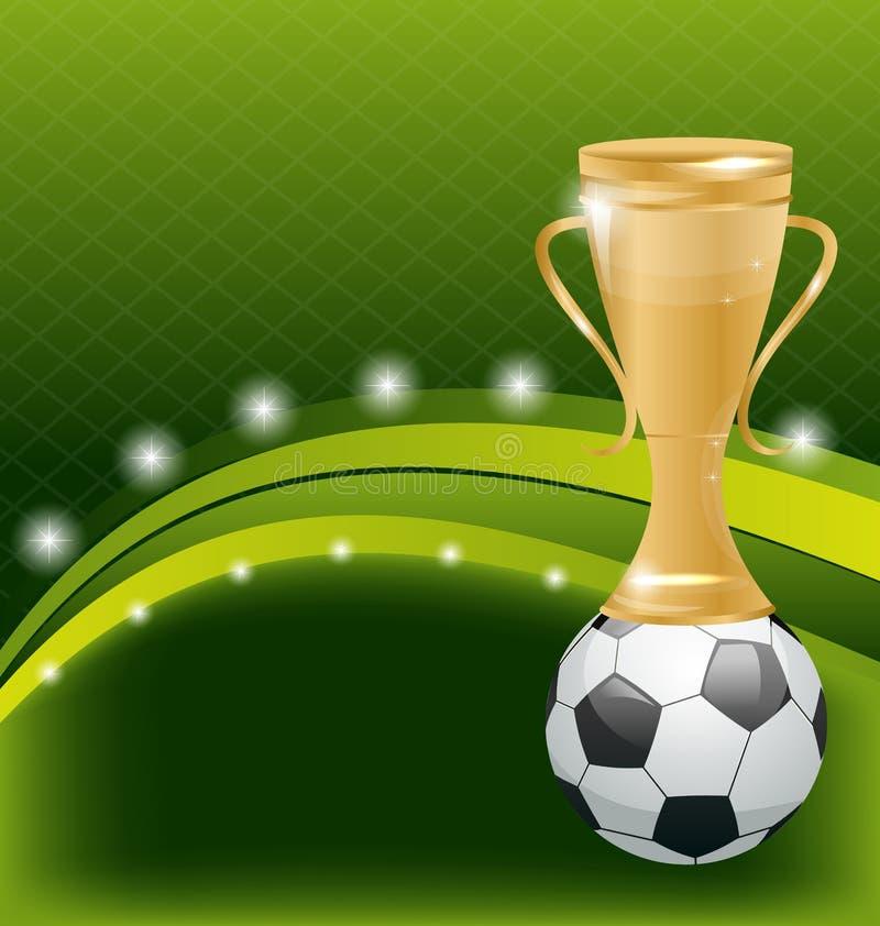 Карточка футбола с шариком и призом иллюстрация вектора