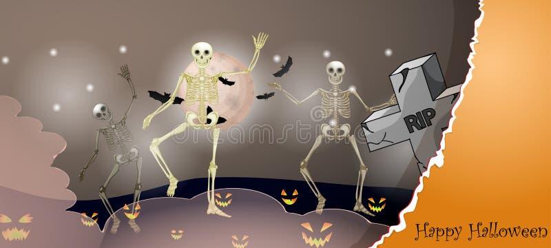 Карточка хеллоуина с пугающими вещами иллюстрация штока