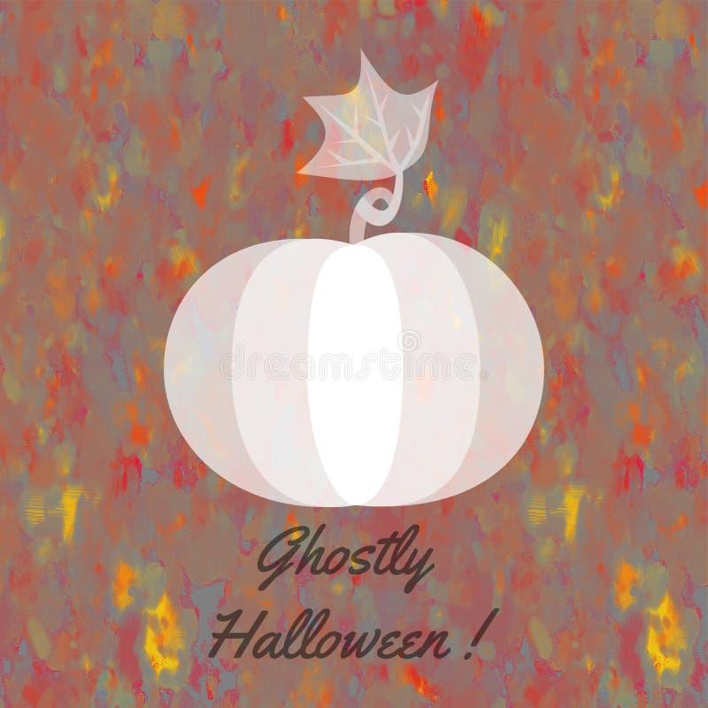 Карточка хеллоуина с беловатой призрачной тыквой иллюстрация вектора