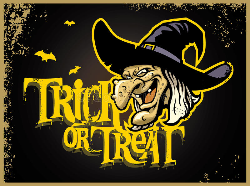 Карточка хеллоуина с головой ведьмы иллюстрация штока
