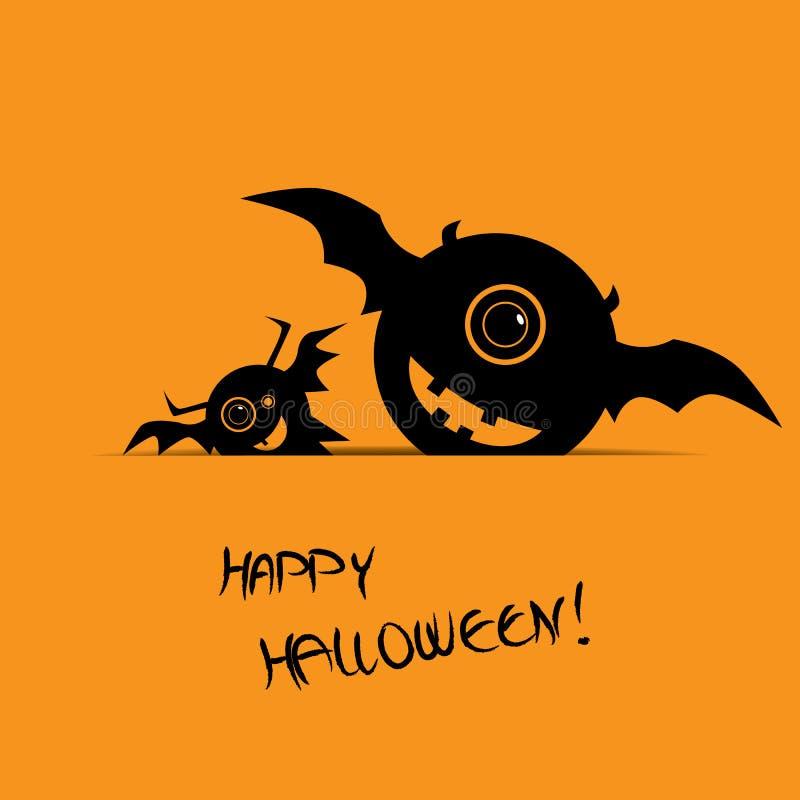 Карточка хеллоуина с счастливыми извергами улыбки бесплатная иллюстрация