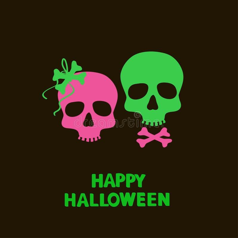 Карточка хеллоуина с черепами иллюстрация вектора