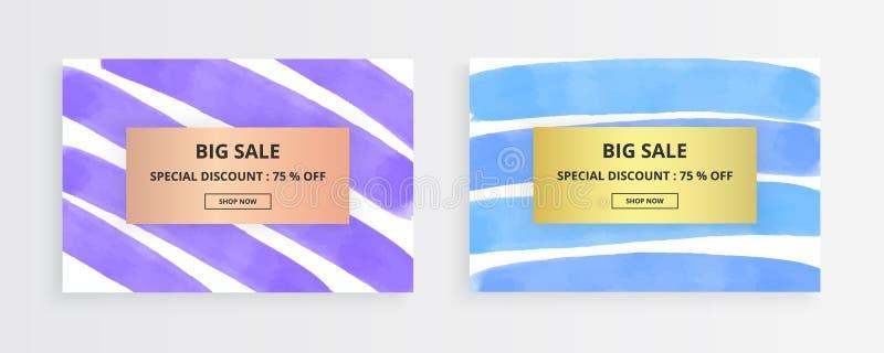 Карточка хода щетки чернил творческая Рука фиолетовой, голубой акварели горизонтальная покрасила нашивки на белой предпосылке Шаб иллюстрация штока