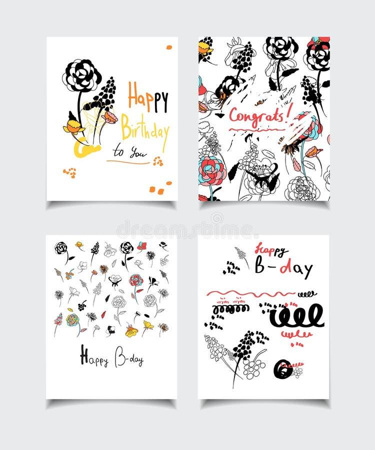 Карточка цветка дня рождения иллюстрация штока