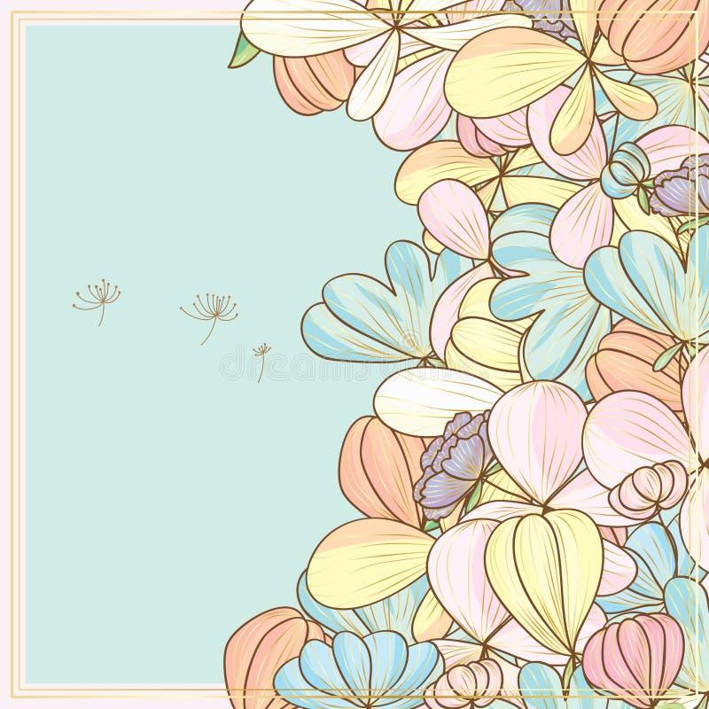 Карточка цветка пастельная золотая бортовая иллюстрация штока