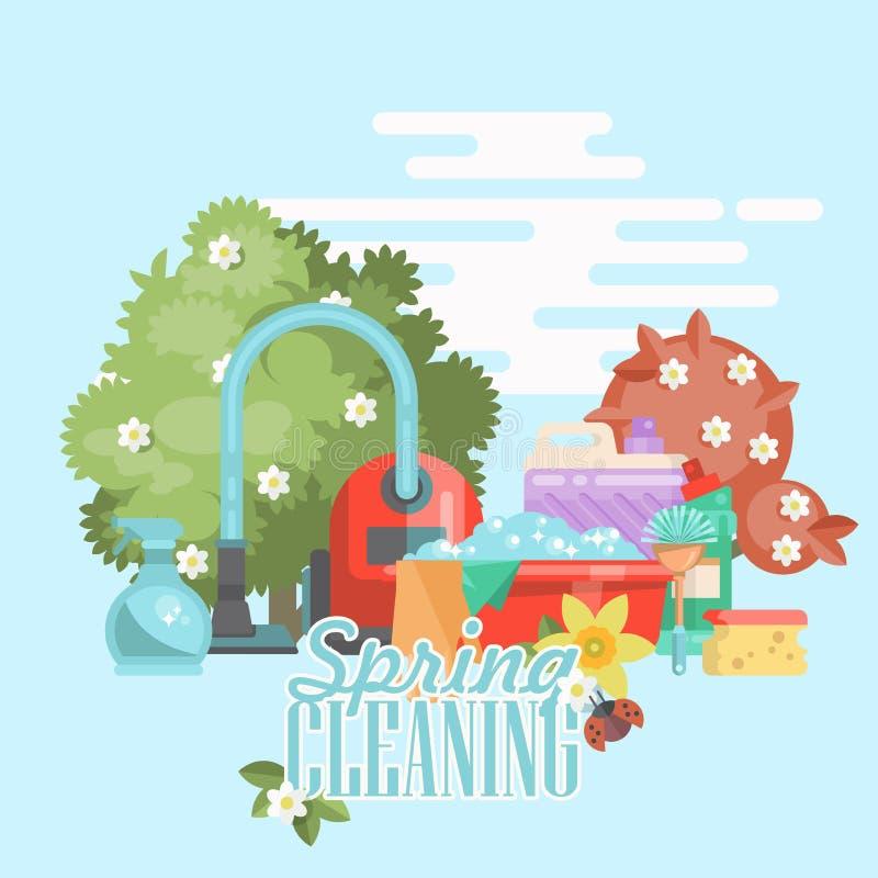 Карточка чистки весны Уборка 24 часа vector иллюстрация в современном плоском дизайне бесплатная иллюстрация