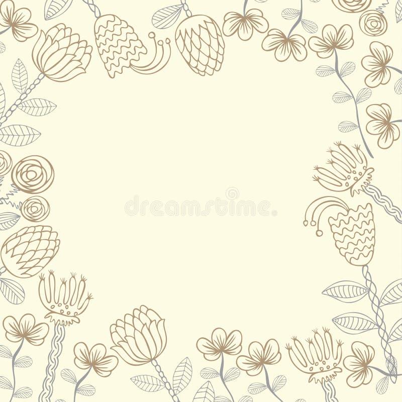 Карточка шаблона вектора нарисованная рукой флористическая иллюстрация вектора