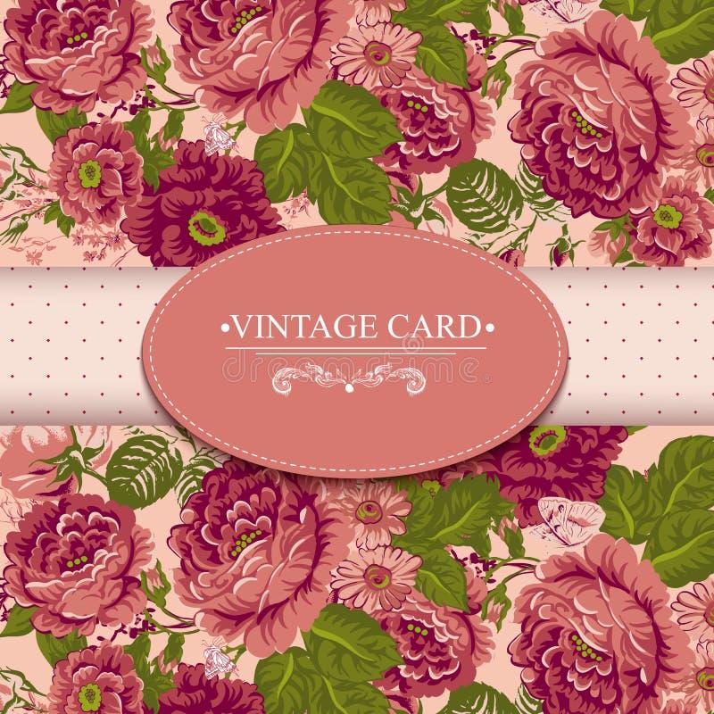 Карточка элегантности винтажная флористическая с розами иллюстрация штока