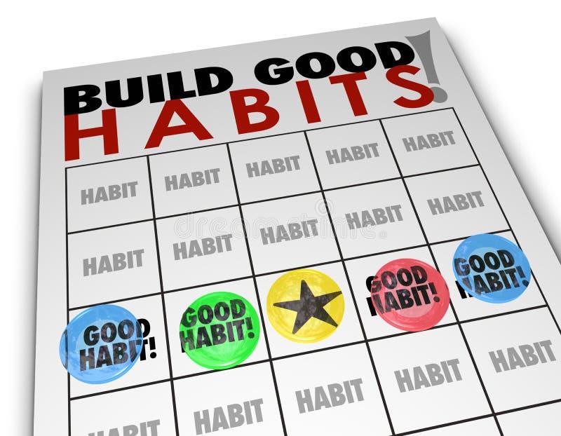 Карточка Bingo привычек строения хорошая начинает сильный рост искусств иллюстрация штока