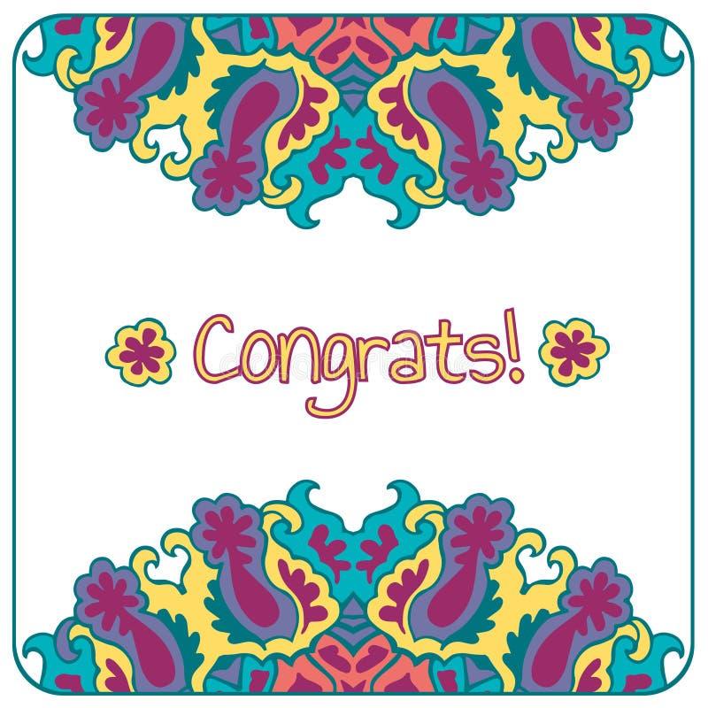 Карточка Congrats абстрактный цветастый вектор бесплатная иллюстрация
