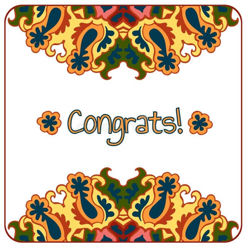 Карточка Congrats абстрактный цветастый вектор иллюстрация штока