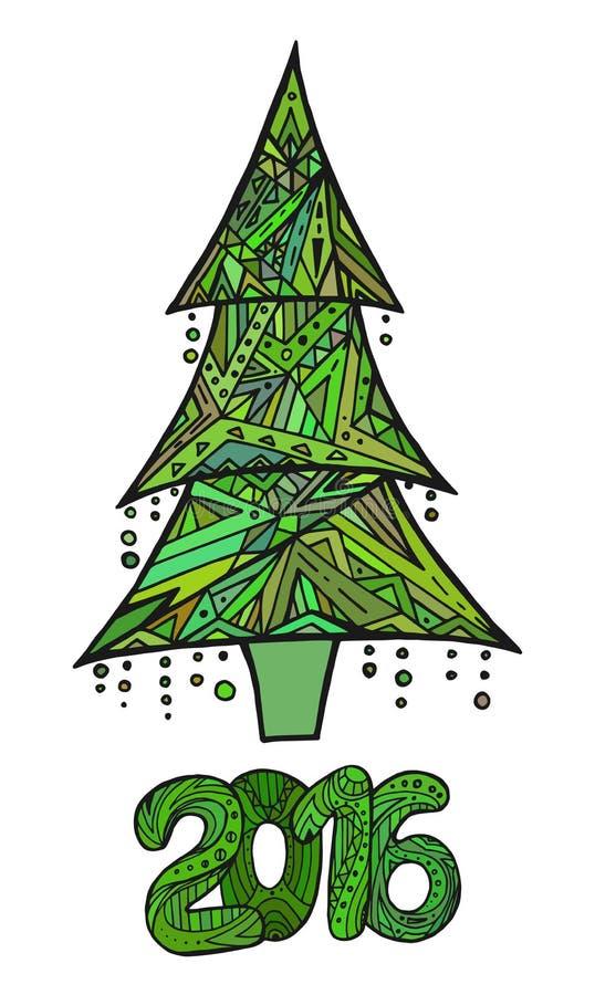 Карточка Doodle с рождественской елкой и датой бесплатная иллюстрация