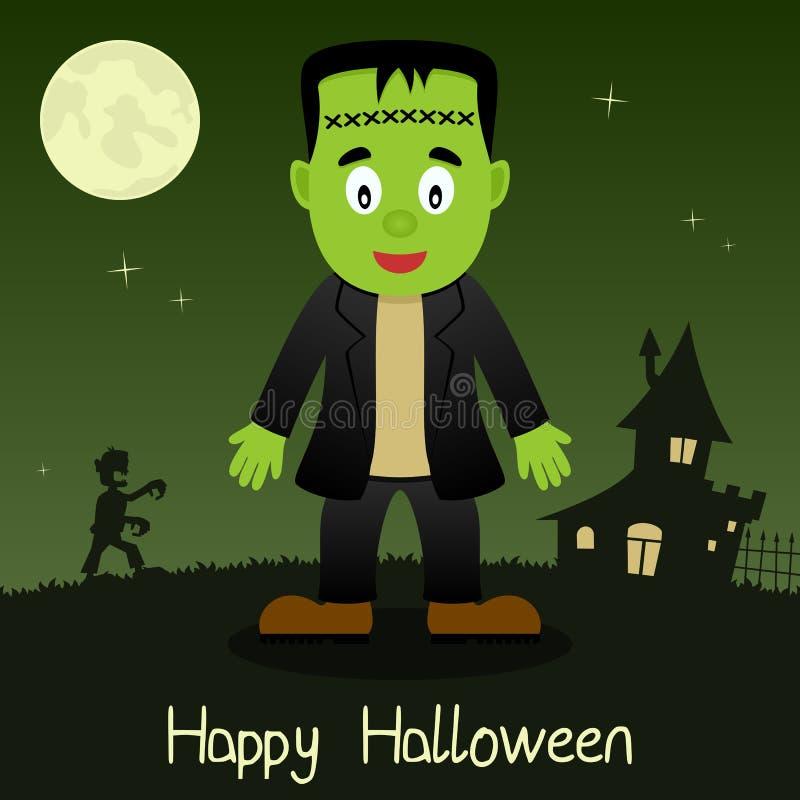 Карточка Frankenstein счастливая хеллоуина иллюстрация штока