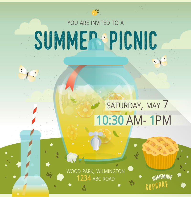 Карточка glade пикника вектора Иллюстрация еды и времяпровождения Стеклянный распределитель с лимонадом Дизайн карточки приглашен бесплатная иллюстрация