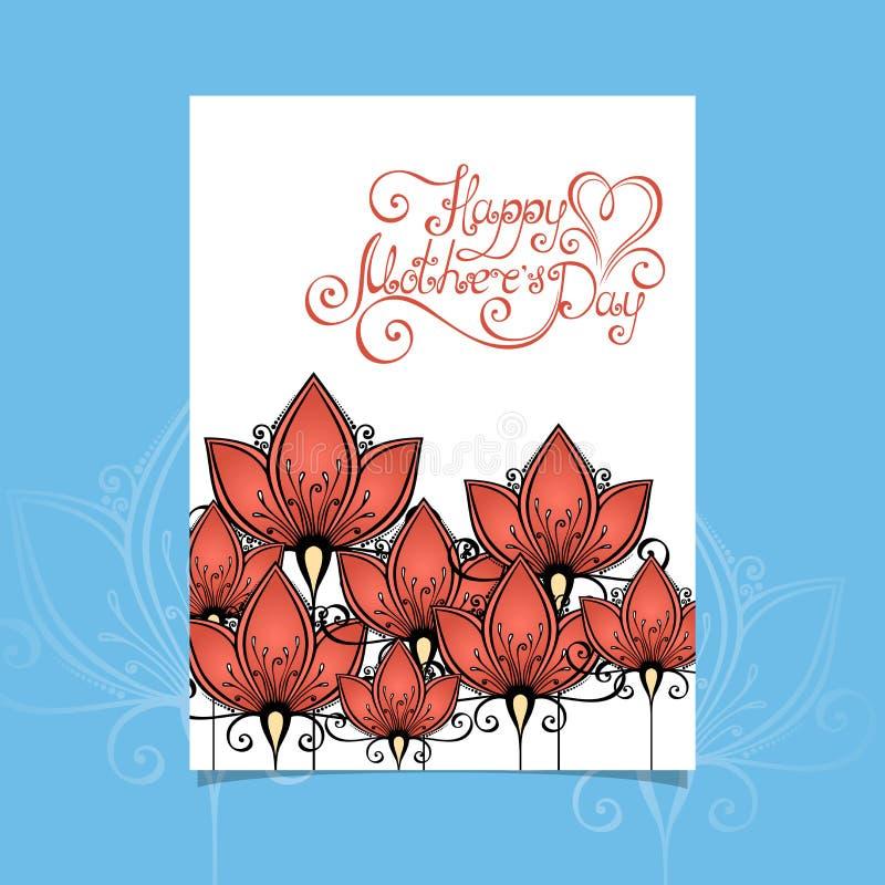 Карточка Greering дня матерей вектора счастливая с цветками иллюстрация штока