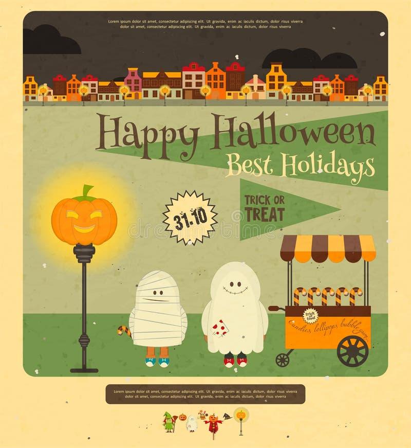 карточка halloween иллюстрация штока