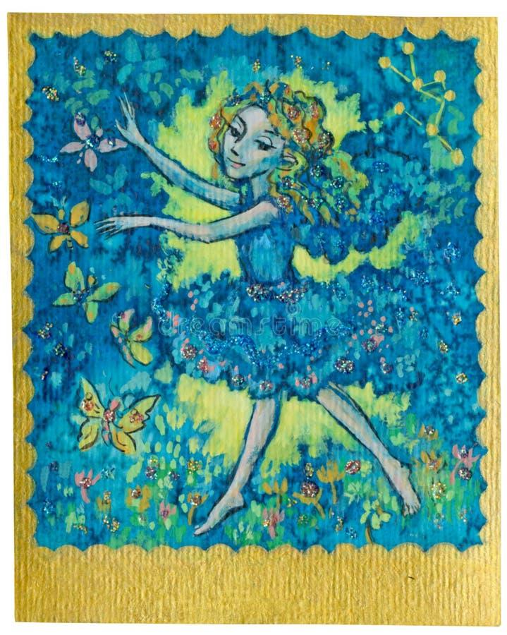 Карточка Tarot - танцулька иллюстрация вектора