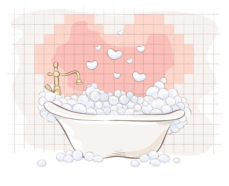 Карточка Valentin -- Ванна для любовников иллюстрация вектора
