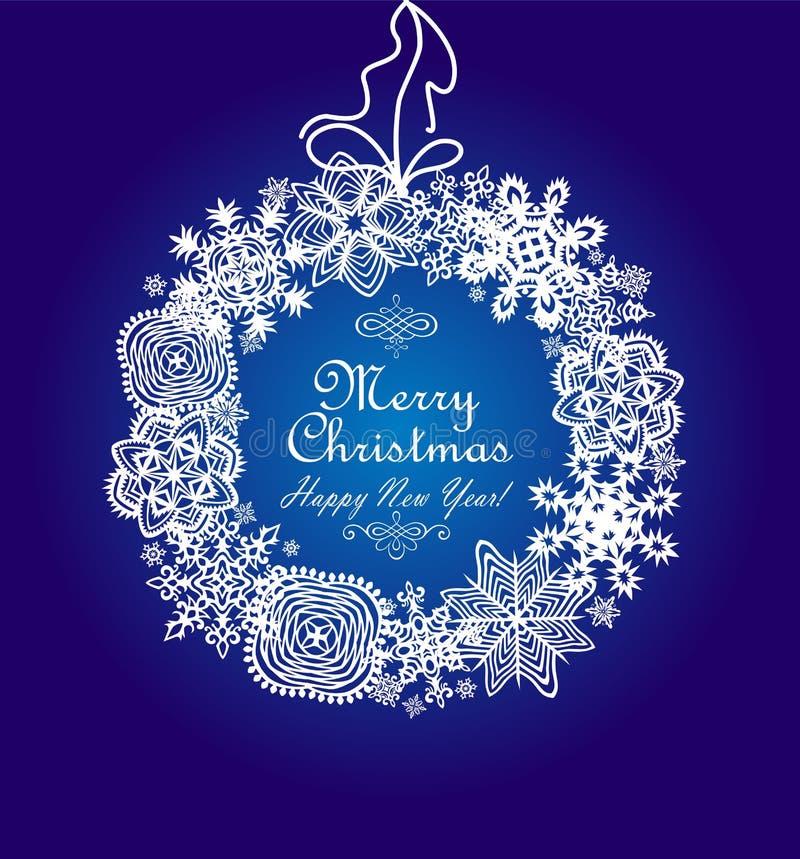 Карточка Xmas голубая с венком снежинок бумаги смертной казни через повешение иллюстрация вектора