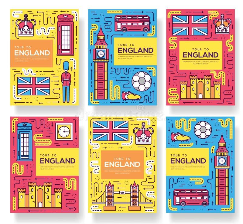 Карточки брошюры вектора Англии утончают линию комплект Шаблон flyear, кассеты перемещения страны, плакаты, обложка книги, знамен иллюстрация вектора