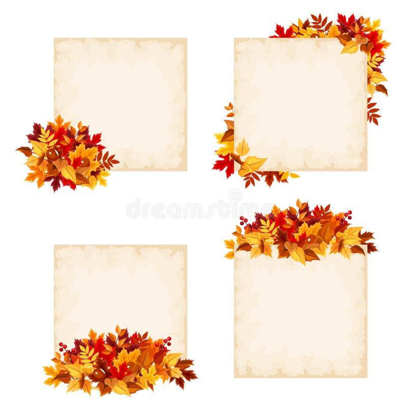 Карточки вектора бежевые с красочными листьями осени иллюстрация вектора