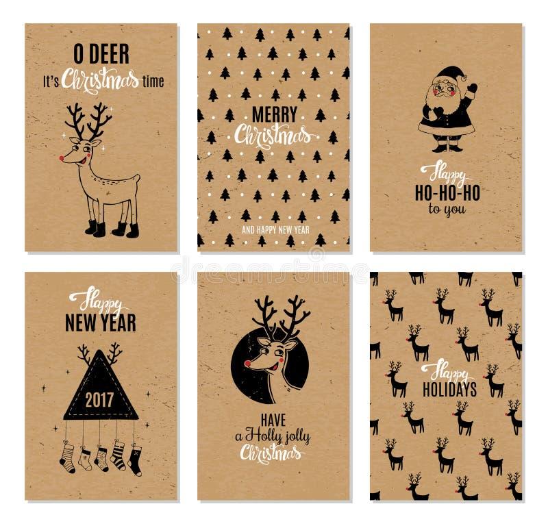 Карточки вектора рождества нарисованные рукой printable бесплатная иллюстрация