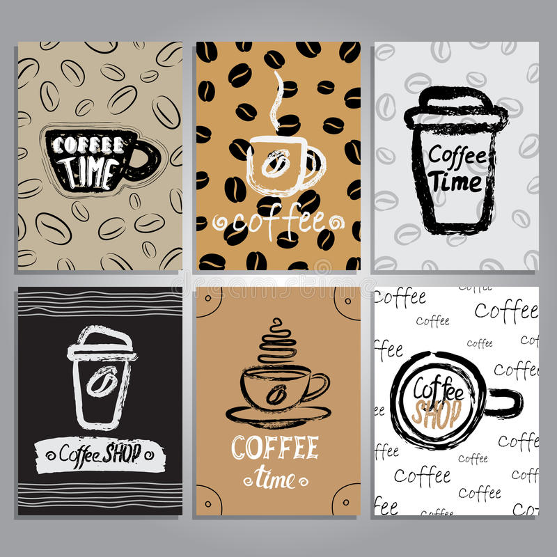 Карточки вектора с дизайном темы кофе иллюстрация штока