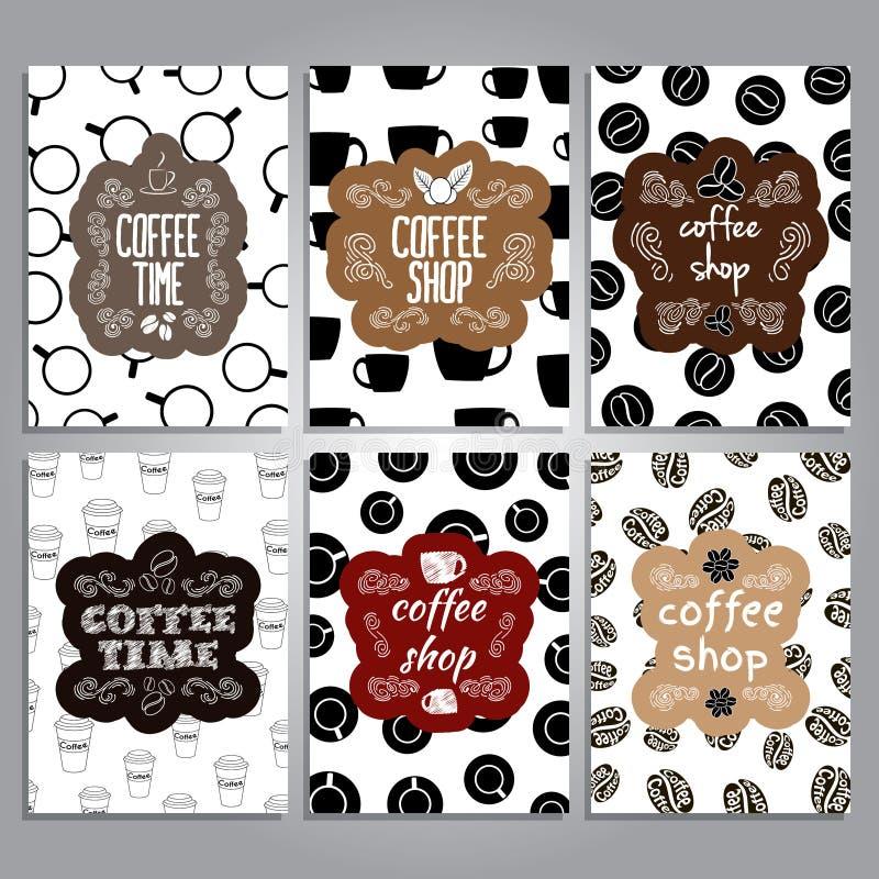 Карточки вектора с дизайном темы кофе бесплатная иллюстрация