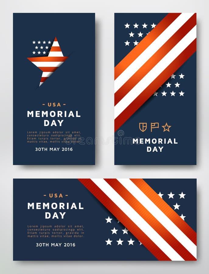 Карточки Дня памяти погибших в войнах иллюстрация вектора