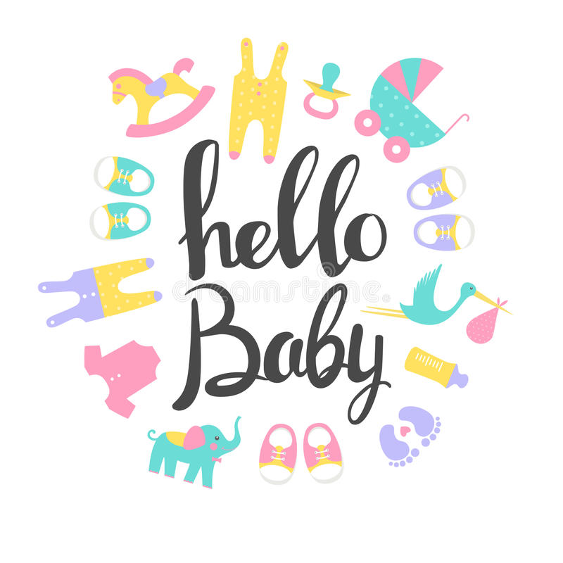 Карточки детского душа младенец здравствулте! бесплатная иллюстрация