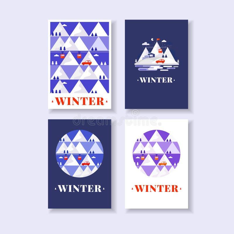 Карточки зимы горы иллюстрация штока