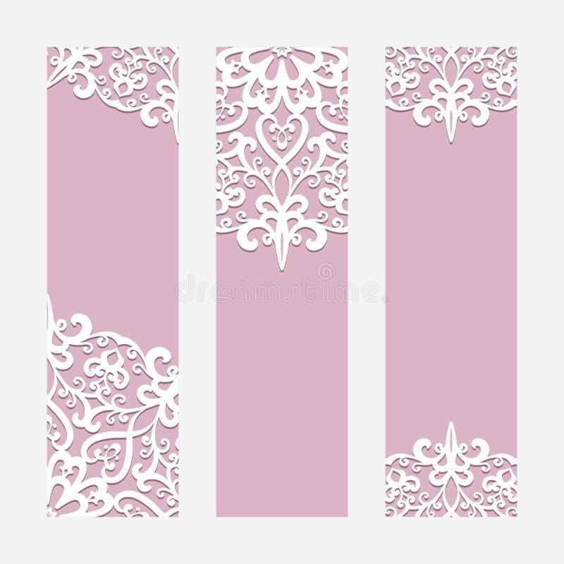 Карточки или знамена свадьбы с орнаментом шнурка иллюстрация штока