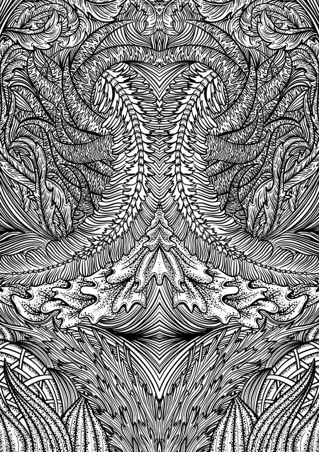 Карточки или книга картины орнамента крышки играя Винтажной флористической иллюстрация нарисованная рукой в линии стиле искусства иллюстрация штока