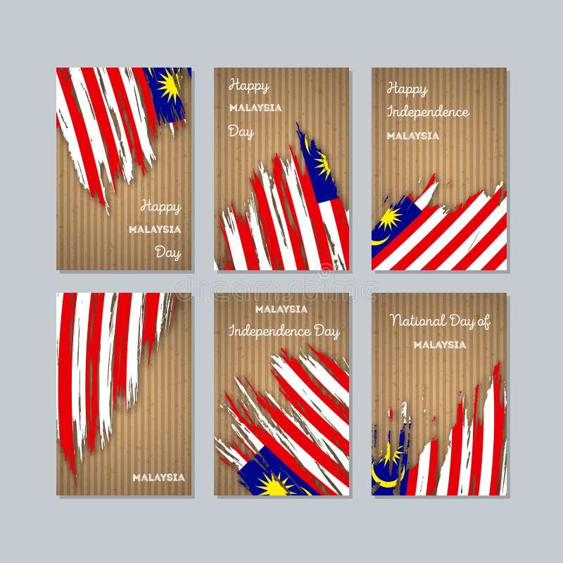 Карточки Малайзии патриотические на национальный праздник бесплатная иллюстрация