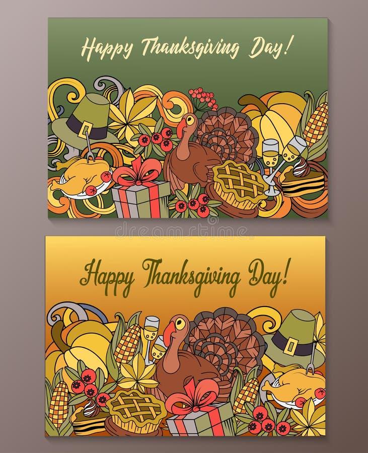 Карточки официальный праздник в США в память первых колонистов Массачусетса нарисованного вручную Doodle вектора шаржа счастливые бесплатная иллюстрация