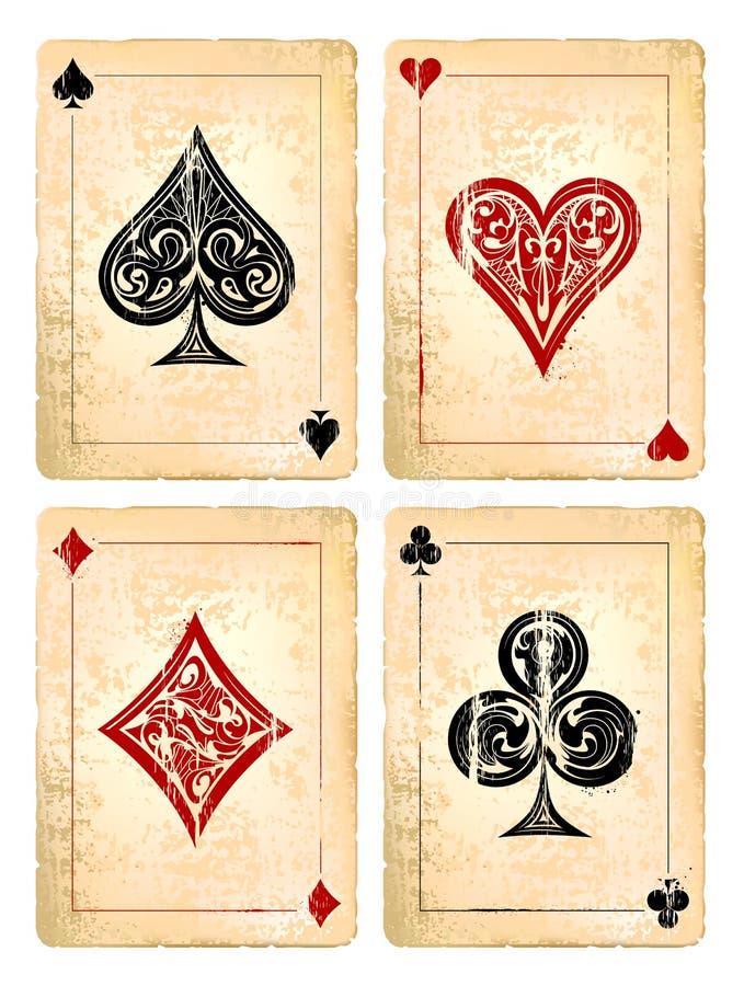 Карточки покера Grunge иллюстрация вектора