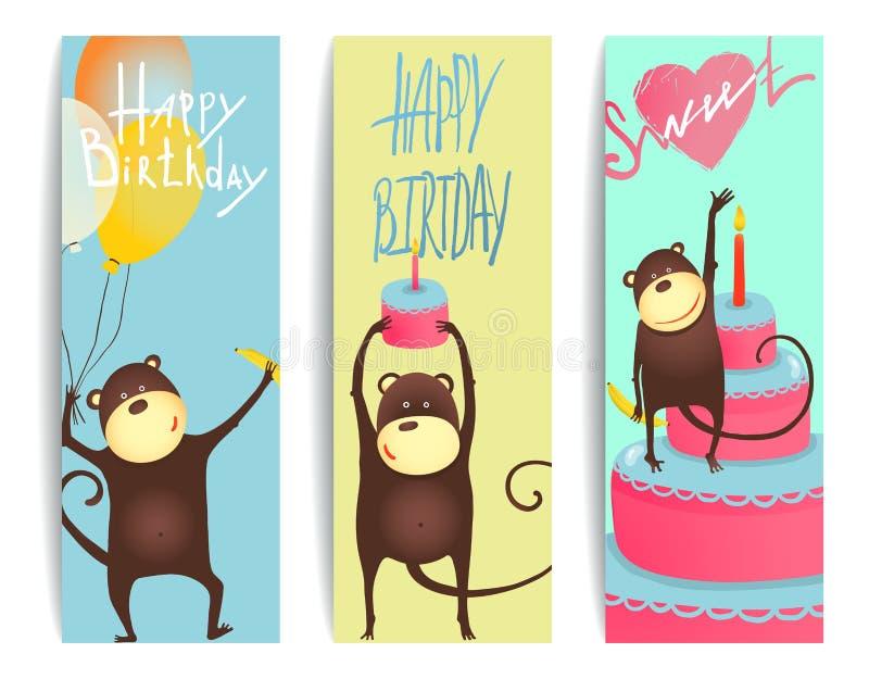 Карточки потехи обезьяны с литерностью дня рождения иллюстрация вектора