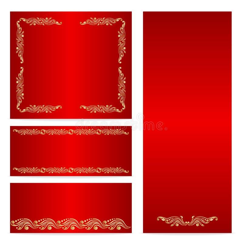 Карточки приветствию или приглашению вектора установленные иллюстрация штока