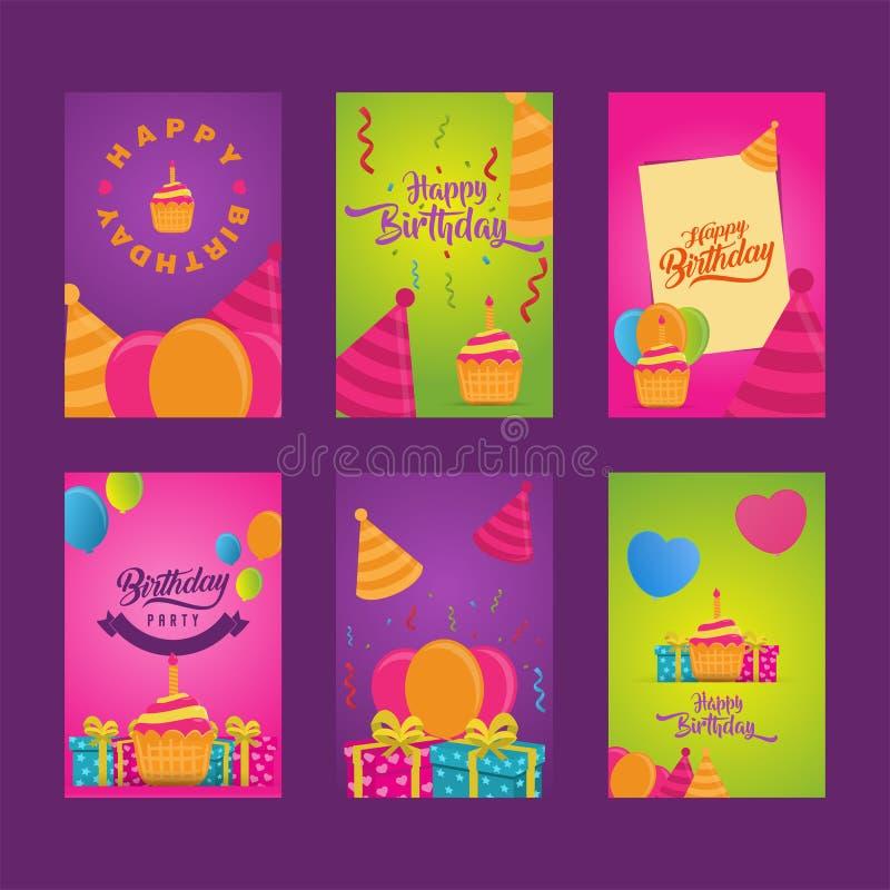 Карточки приглашения к партии Знамена с тортом, воздушные шары, подарки С днем рождения установленные шаблоны приветствию собрани иллюстрация штока