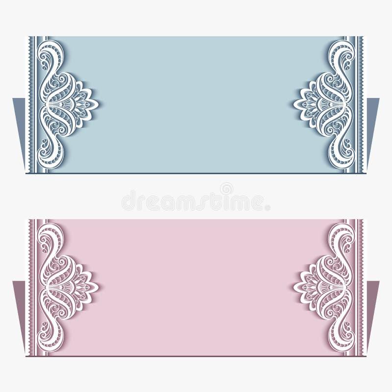 Карточки приглашения свадьбы с границей шнурка иллюстрация штока
