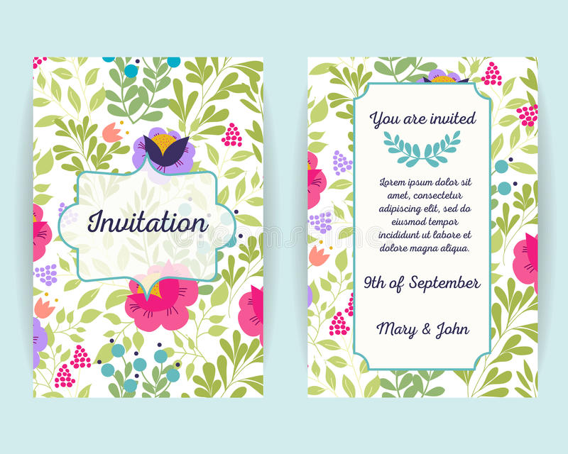 Карточки приглашения свадьбы с цветками, ягодами и листьями Польза для посадочного талона, приглашений, спасибо карточки вектор иллюстрация штока
