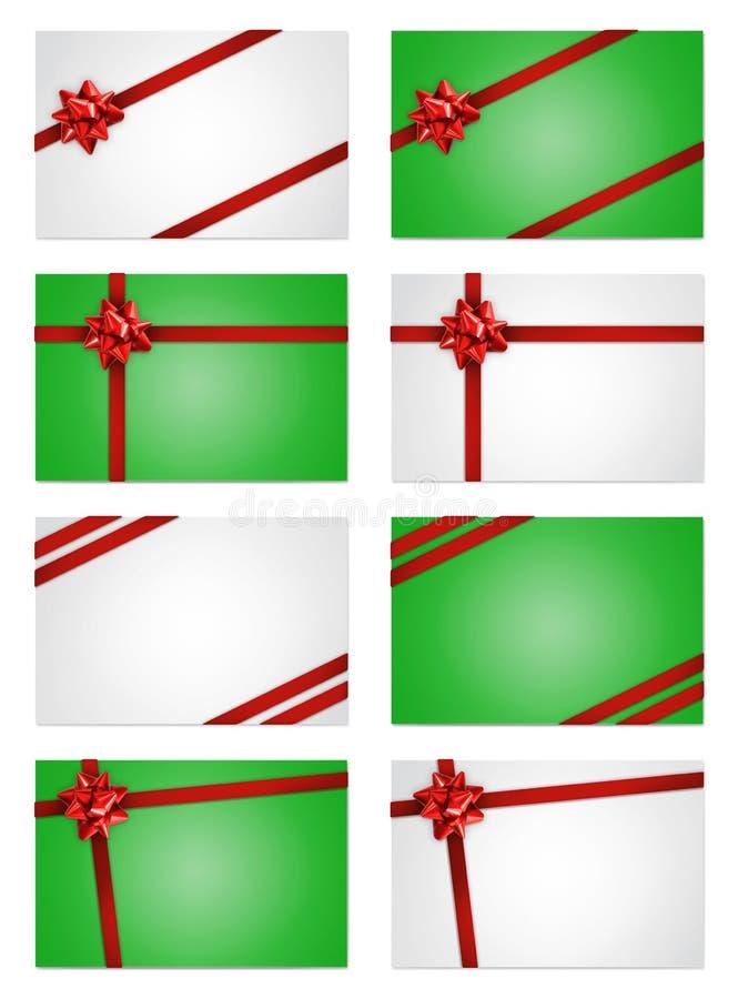 Карточки примечания праздника с красными смычками и тесемками подарка иллюстрация штока