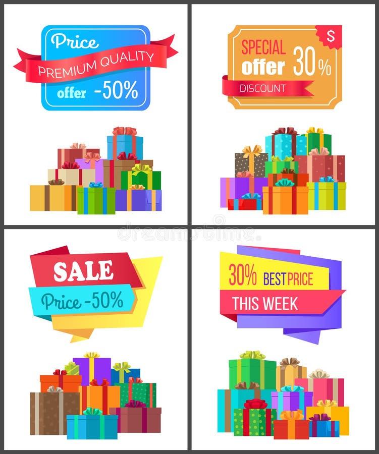 4 карточки продажи цены скидки специальных предложения самых лучших бесплатная иллюстрация
