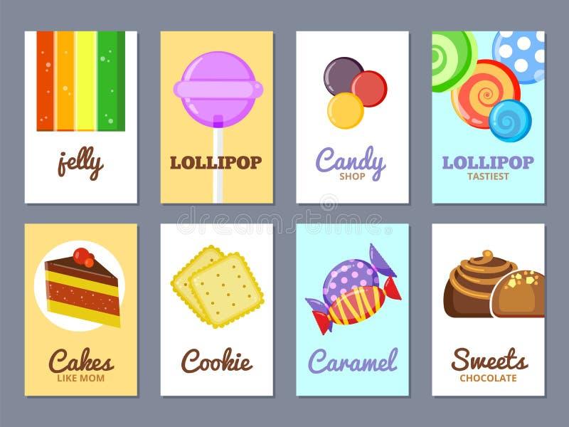 Карточки рекламы помадок Торты леденца на палочке студня и другие помадки vector плакат или ярлыки для конфеты ходят по магазинам бесплатная иллюстрация