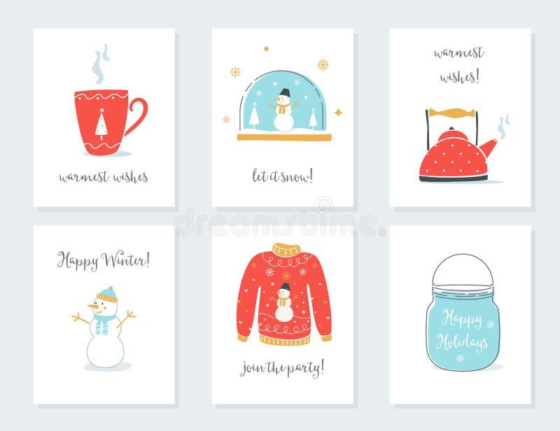 Карточки рождества, Нового Года и зимних отдыхов с винтажными сентиментальными объектами Кружка чая, глобус снега, чайник, свитер иллюстрация вектора