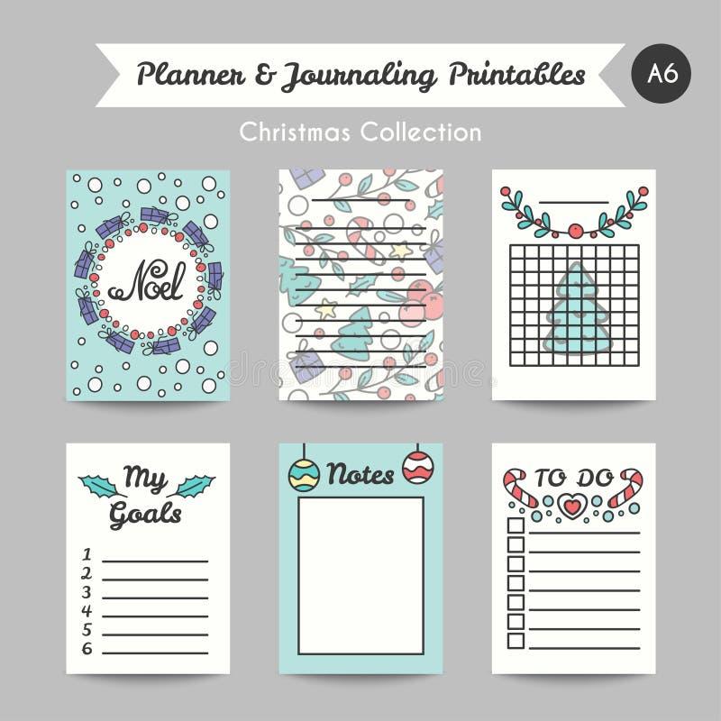 Карточки рождества Printable ведя дневник Линия страницы Jornal стиля иллюстрация вектора