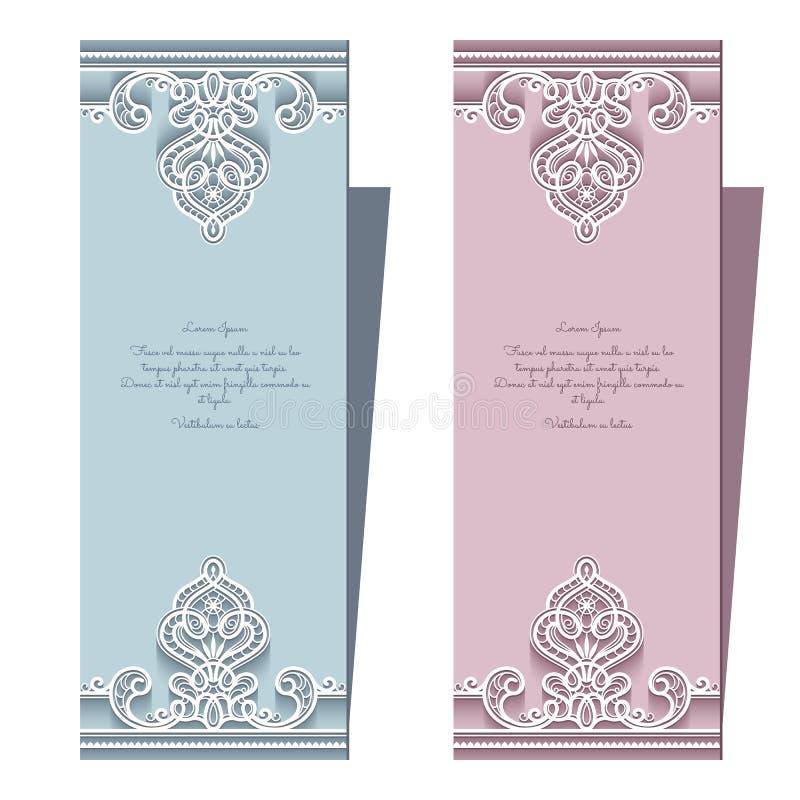 Карточки свадьбы шнурка иллюстрация вектора